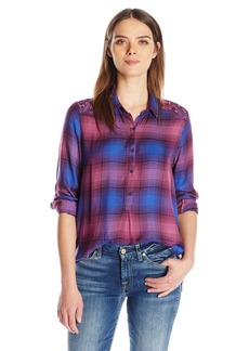 Lucky Brand Women's Embeliished Plaid Top
