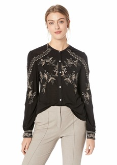 Lucky Brand Women's Embriodered Button UP TOP  XS