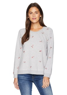 Lucky Brand Women's Embroidered Allover Flowers Pullover Sweatshirt  L