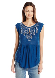 Lucky Brand Women's Embroidered Bib Shell Top