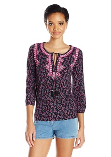 Lucky Brand Women's Embroidered Boho Top in Black Multi