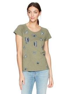 Lucky Brand Women's Embroidered Butterfly TEE  XS