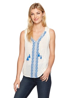Lucky Brand Women's Embroidered Center Front Top
