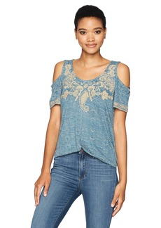 Lucky Brand Women's Embroidered Cold houlder Top  mall