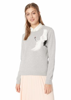 Lucky Brand Women's Embroidered Crane Pullover Sweater  M