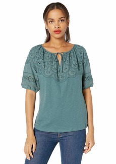 Lucky Brand Women's Embroidered Cut Out Peasant TOP  S