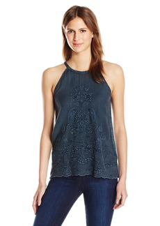 Lucky Brand Women's Embroidered Cut Out Top