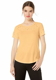 Lucky Brand Women's Embroidered Cut-Out TOP  L