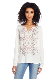 Lucky Brand Women's Embroidered Drop Shoulder Top