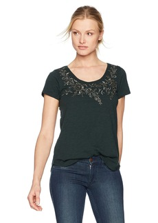 Lucky Brand Women's Embroidered Flower Tee  S