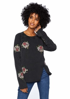 Lucky Brand Women's Embroidered Flowers Sweatshirt Black M