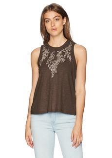 Lucky Brand Women's Embroidered Leaf Ruched Back Tank TOP  M