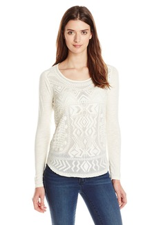 Lucky Brand Women's Embroidered Mesh T-Shirt