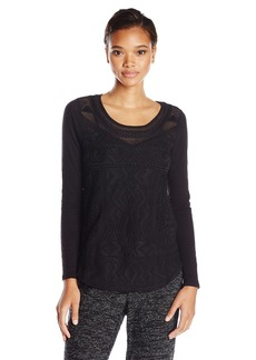 Lucky Brand Women's Embroidered Mesh Tee