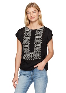 Lucky Brand Women's Embroidered Mix Top