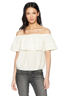 Lucky Brand Women's Embroidered Off The Shoulder TOP  L