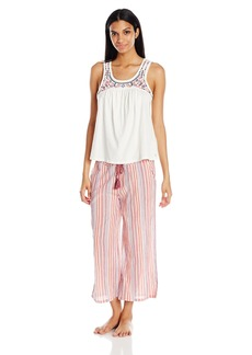 Lucky Brand Women's Embroidered Pajama Set  M
