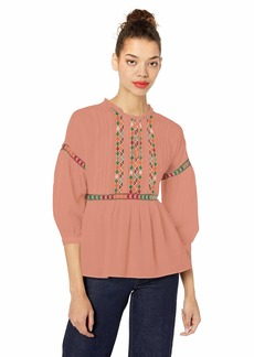 Lucky Brand Women's Embroidered Peasant TOP  L