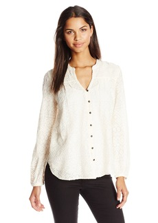 Lucky Brand Women's Embroidered Peasant Top  Small