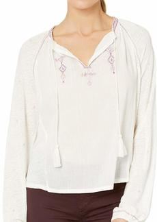 Lucky Brand Women's Embroidered Peasant TOP  XS