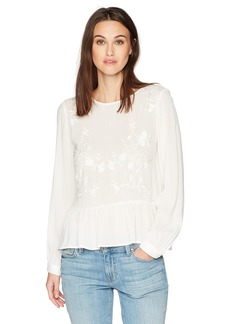 Lucky Brand Women's Embroidered Peplum Top  S