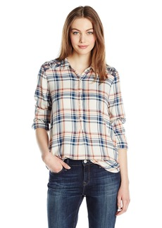 Lucky Brand Women's Embroidered Plaid Top
