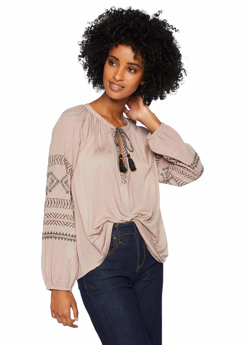 Lucky Brand Women's Embroidered Print Peasant TOP  L