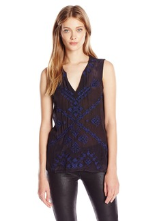 Lucky Brand Women's Embroidered Shell Top