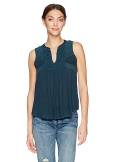 Lucky Brand Women's Embroidered Shell TOP  L