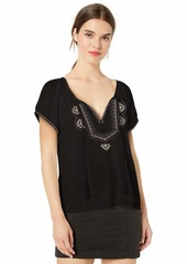 Lucky Brand Women's Embroidered Short Sleeve Peasant TOP  M