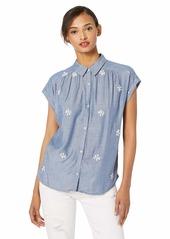 Lucky Brand Women's Embroidered Short Sleeve Shirt  XL