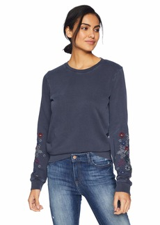 Lucky Brand Women's Embroidered Sleeve Flowers Pullover Sweatshirt  M