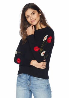 Lucky Brand Women's Embroidered Sleeve Pullover Sweater  M