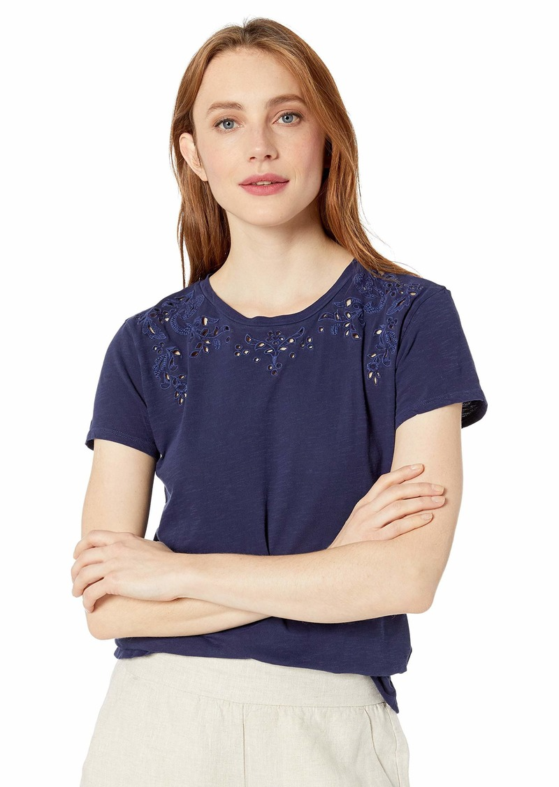 Lucky Brand Women's Embroidered Solid TEE  S