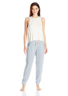 Lucky Brand Women's Embroidered Tank Pajama Set  L