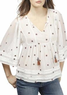 Lucky Brand Women's Embroidered TOP  M