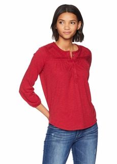 Lucky Brand Women's EMBROIDERED TOP Shirt -red S