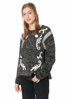 Lucky Brand Women's Embroidered Twill Pullover Sweater  XL