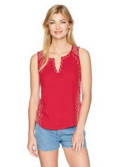 Lucky Brand Women's Embroidered Woven Mix Tank Top