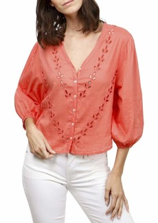 Lucky Brand Women's Eyelet Peasant Blouse  M