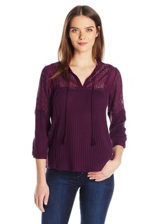 Lucky Brand Women's Eyelet Peasant Top