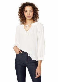Lucky Brand Women's Eyelet Scalloped Edge Peasant TOP  XL
