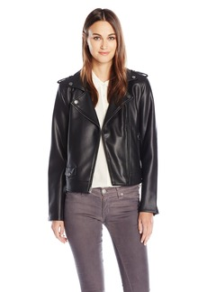 Lucky Brand Women's Faux Leather Bonded Moto Jacket  L