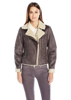 Lucky Brand Women's Leather Jacket with Faux Shearling Interior  S