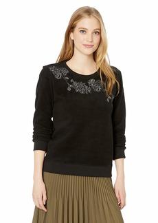 Lucky Brand Women's Fleece Floral Pullover Sweater  L