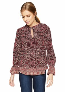 Lucky Brand Women's Floral Border TOP red/Multi XL
