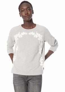 Lucky Brand Women's Floral Chenille Pullover Sweatshirt  XL