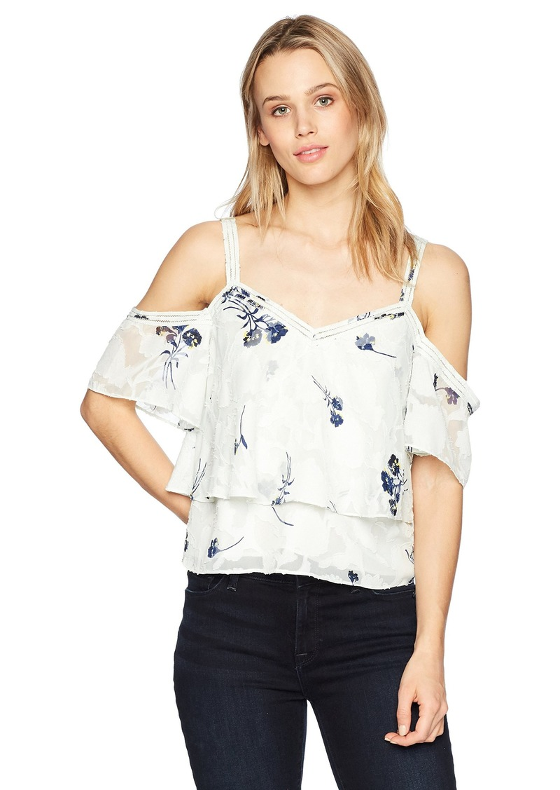 Lucky Brand Women's Floral Cold Shoulder TOP  XS