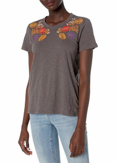 Lucky Brand Women's Floral Embroidered Chest Tee  XS