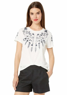 Lucky Brand Women's Floral Embroidered TEE  M